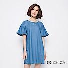 CHICA 春氛森林荷葉袖設計丹寧洋裝(1色)
