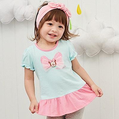 Disney baby米妮系列蝴蝶結甜心荷葉上衣 果綠
