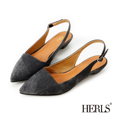 HERLS-經典復刻 丹寧刷色微跟涼鞋-黑色
