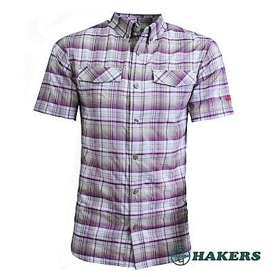 【HAKERS 】男-短袖格紋襯衫-紫紅