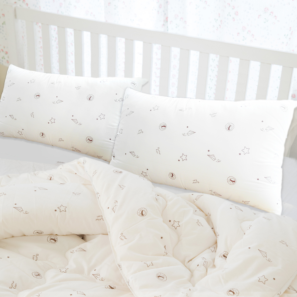 奶油獅-星空飛行-台灣製造-美國抗菌表布雙道防蹣健康枕(1入)