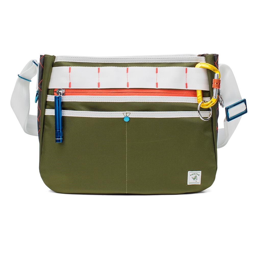 PORTER - 活力無限GEAR UP圓弧造型斜背包 - 綠配白