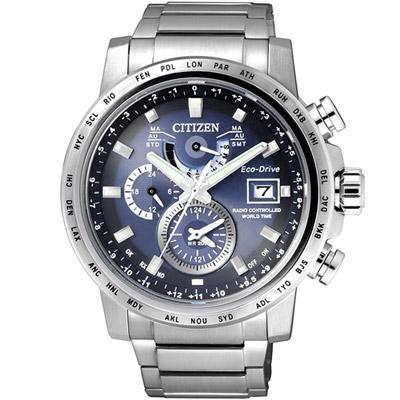 CITIZEN 星辰 極光時尚光動能電波腕錶(AT9070-51L)-藍色/43mm