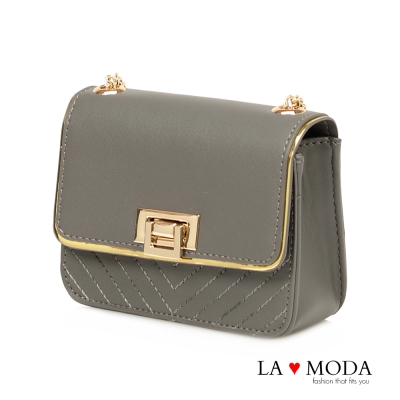 La Moda 約會宴會經典穿搭 菱格車線金屬邊翻釦鍊條包(灰)