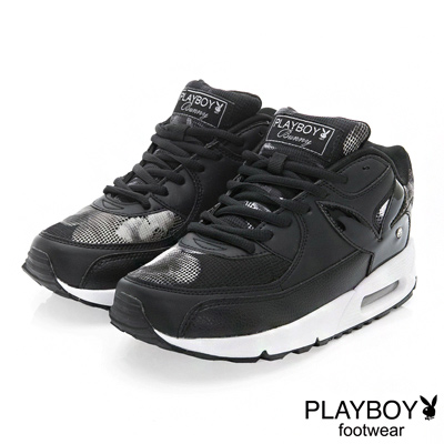 PLAYBOY 玩酷宣言 渲染印花氣墊運動鞋-黑(女)
