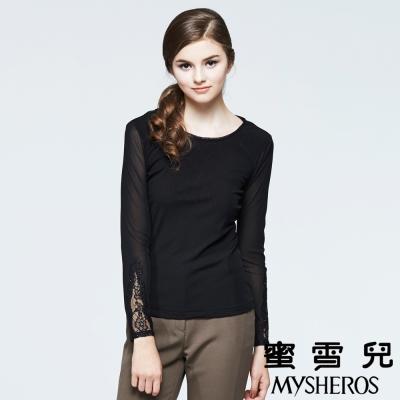 蜜雪兒mysheros-圓領蕾絲透膚內搭上衣