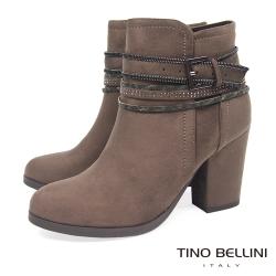 Tino Bellini 視覺焦點混搭釦帶高跟短靴_駝灰