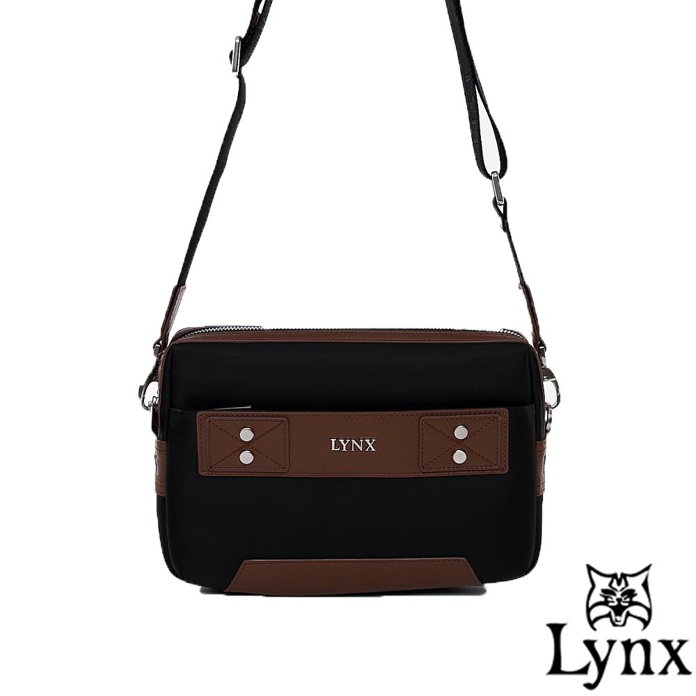 Lynx - 山貓紳士極簡風格2WAY真皮手拿側背包-質感咖