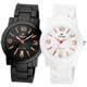 MIRRO 愛戀風潮時尚都會陶瓷對錶-黑白x玫瑰金 product thumbnail 1