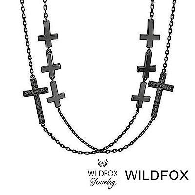 Wildfox Couture 美國品牌 鑲白鑽 十字架 多層次 亮黑金 長項鍊