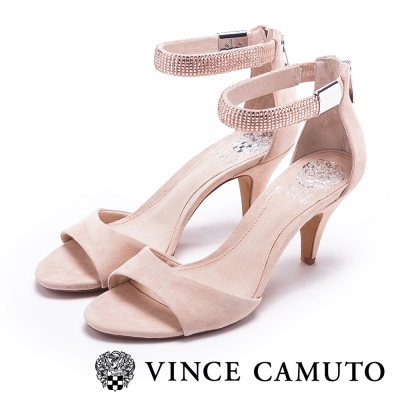 VINCE CAMUTO 優雅迷人 璀璨水鑽繞踝質感麂皮涼鞋-粉色