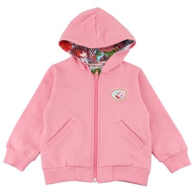 愛的世界 牡丹金魚彈性連帽長袖外套-粉/2~4歲