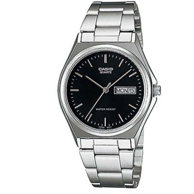 CASIO 經典簡約時尚日曆星期腕錶(MTP-1240D-1A)-丁字黑面/36mm