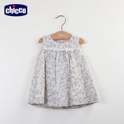 chicco優雅淑女印花背心洋裝-卡其(12-24個月)