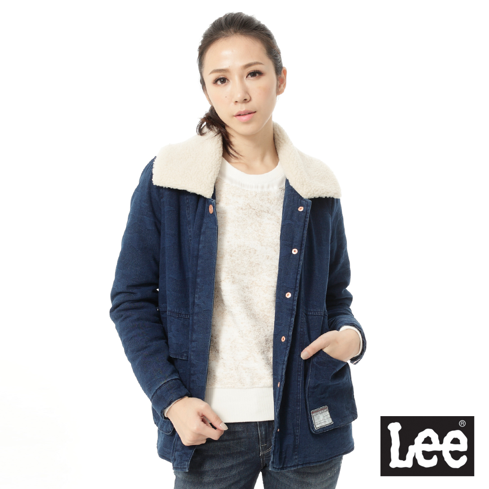 Lee 舖棉外套 大翻毛領長版 -女款 藍