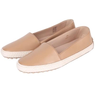 TOD'S Slip-On Gommino 草編拼接豆豆休閒鞋(裸色)
