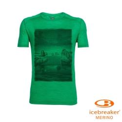 【Icebreaker】男 美麗諾羊毛 COOL-LITE 圓領短袖上衣_灰草綠