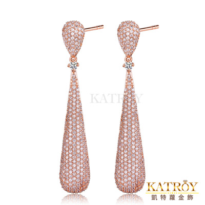 KATROY 925純銀耳環針式鍍K金滿鑽爪鑲-共3色