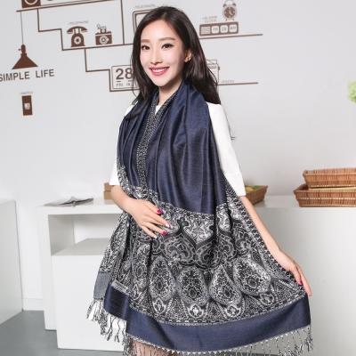 Seoul-Show波西風情-純棉編織圍巾-藍黑
