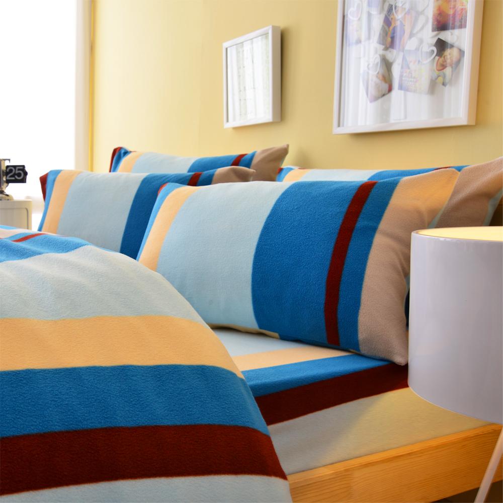 LaVenta北歐條紋-藍單人刷毛搖粒絨被套床包三件組