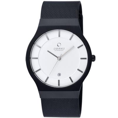 OBAKU 極簡時代優雅時尚腕錶-黑帶白面/38mm