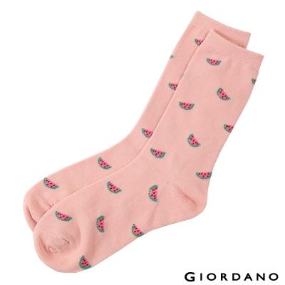 GIORDANO-女裝水果系列中筒襪-09蓮紅-西瓜