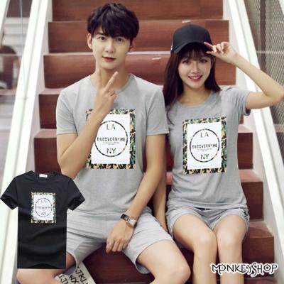 Monkey Shop 正韓情侶迷彩方框LA.NY印花短袖T恤-2色