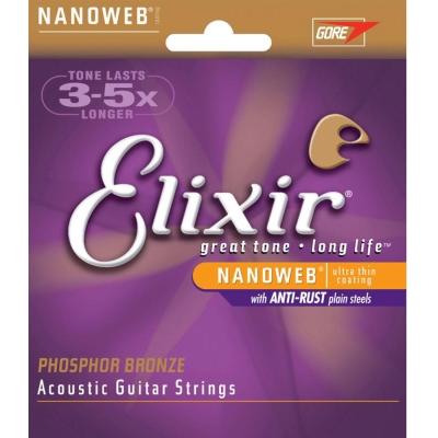 Elixir EXXF-16182 Nanoweb 磷青銅民謠吉他套弦