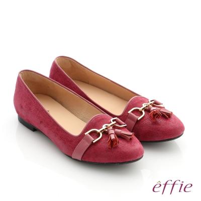 effie 個性美型 真皮鍊條流蘇奈米低跟鞋 桃紅色