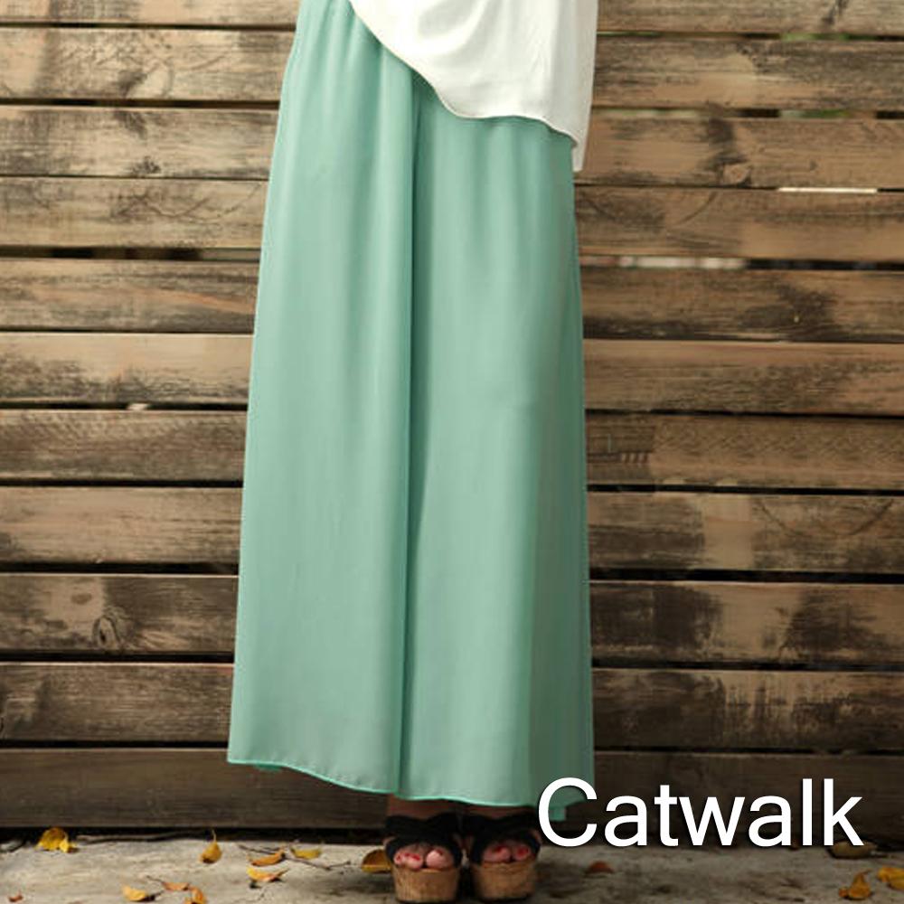 褲裙 韓版飄逸鬆緊雪紡長褲裙(綠)-Catwalk