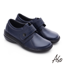 A.S.O 手縫氣墊-3E寬楦 魔鬼氈圓飾扣氣墊鞋 藍色