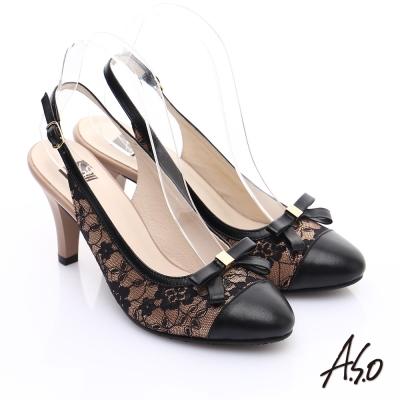 A.S.O 輕透美型 牛皮拼接蕾絲蝴蝶結飾繫帶高跟涼鞋 卡其