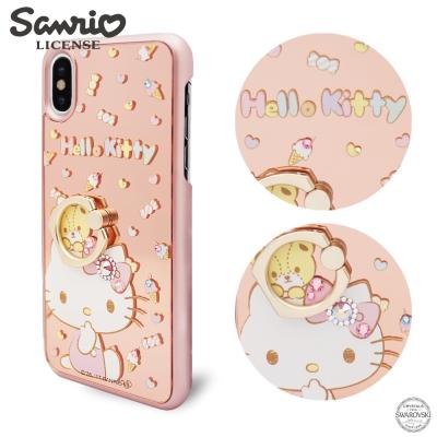 三麗鷗 APPLE iPhoneX 鏡面指環扣水晶保護殼-童趣凱蒂
