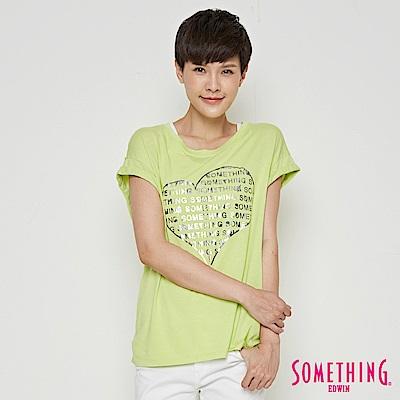 SOMETHING 心型五彩造型T恤-女-嫩綠色