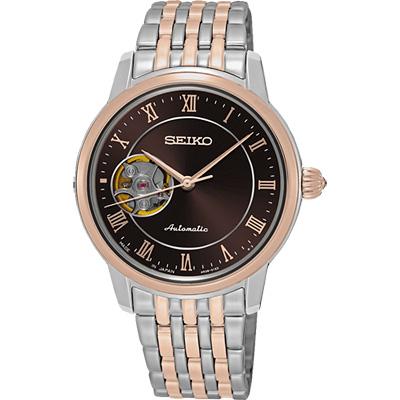 SEIKO Presage 羅馬時光開芯機械女錶(SSA852J1)-咖啡x雙色/34mm