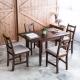 單邊延伸實木餐桌椅組一桌四椅-74x98焦糖-淺灰