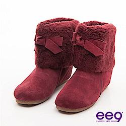 ee9 愛斯基摩甜心-牛麂皮絨毛圍巾內增高短靴-氣質酒紅
