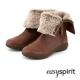 EasySpirit-毛海反折側拉鍊麂皮短靴