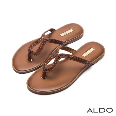 ALDO-原色U字水滴鏤空人字型夾腳涼鞋-個性棕色