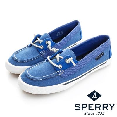 SPERRY 美式休閒帆布拼接休閒鞋(女)-藍