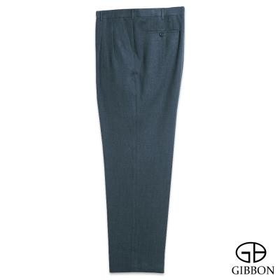 GIBBON 大尺碼經典斜紋打摺西裝褲‧青灰