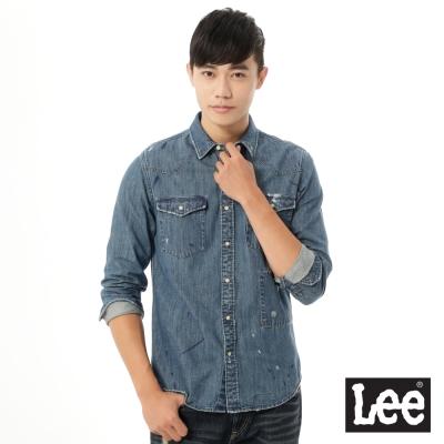 Lee 牛仔長袖刷白Vintage Laundry 襯衫 男款-藍