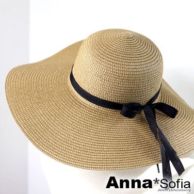 AnnaSofia-緞帶綁蝶結-超寬簷遮陽草帽淑女帽草帽-深駝系