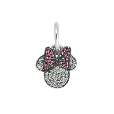 Pandora 潘朵拉 DISNEY迪士尼限量款 垂墜桃紅蝴蝶結水鑽米妮 純銀墜飾 串珠
