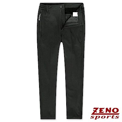 ZENO 極細刷毛彈性保暖長褲‧黑色M-3XL