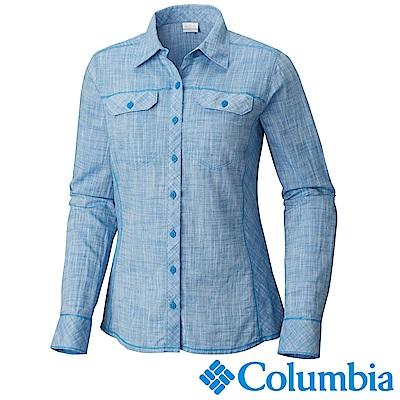 Columbia 哥倫比亞 女款-棉質長袖襯衫-藍色(UAR79900BL)