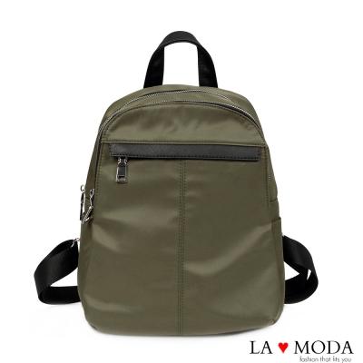 La Moda 模特街頭穿搭必備十字紋真皮牛皮配尼龍布防潑水後背包(綠)
