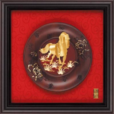 雅鑑鑫品金箔畫 圓盤系列(小) 馬到成功-23x23cm