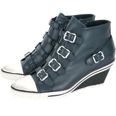 ASH GENIAL 經典羊皮釦帶楔型休閒鞋(藍灰色)