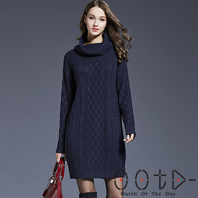 高領長袖麻花菱格紋針織洋裝 (共二色)-OOTD